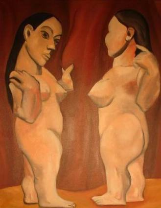 """""""Two Nudes"""" (Appropriation of Picasso's """"Two Nudes"""" 1906), 20 x 26"""", oil on canvas, 2003."""