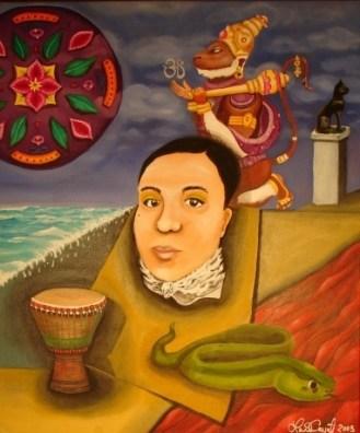 """Drum, Snake Bastet, Hanuman, Mandala and Me"" 18 x 24"", oil on canvas, 2003."