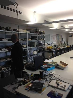 Stefan Höltgen in the Signal Lab - a lab mostly dedicated to early personal computers and game consoles