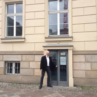 Stefan standing outside of the Media Archaeological Fundus