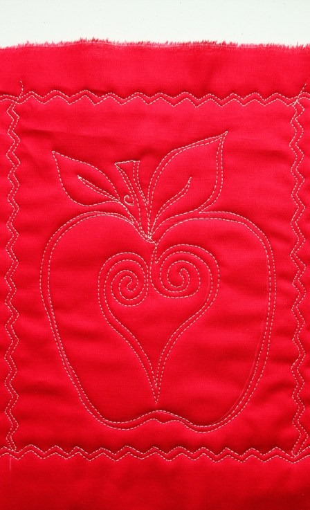 Free Motion Quilted Apples