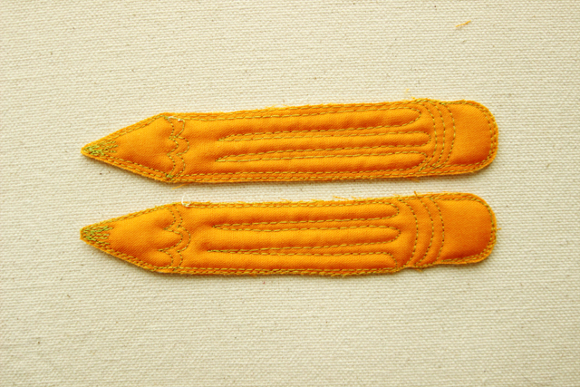 Quilted pencils, FMQ