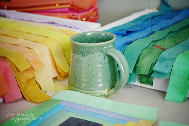 Coffee Mug and Quilt strips