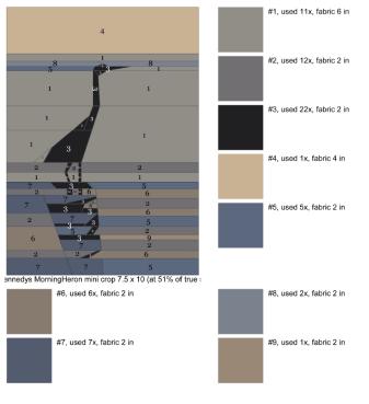 PR-Heron, Paper Pieced, Color Chart