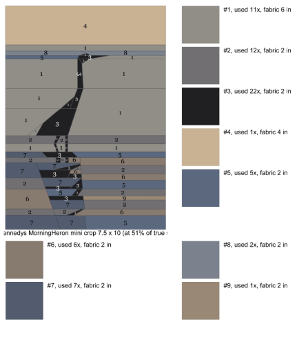 PR-Heron, Paper Pieced, Color Chart