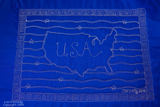 Free motion quilting, flag and USA Map