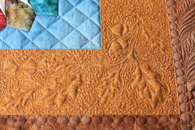 Fall Vase Quilt, Free Motion Quilting