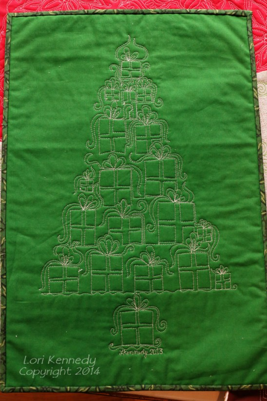 Gift Tree, Free Motion Quilting