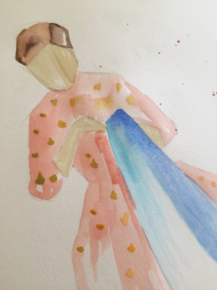 A Girl Sewing, Watercolor