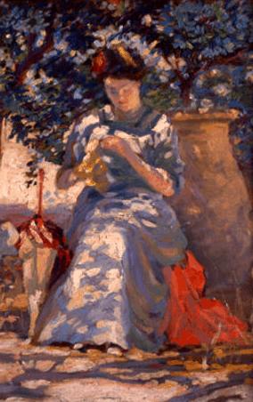 Arthur Watson Sparks, Woman Sewing In Garden