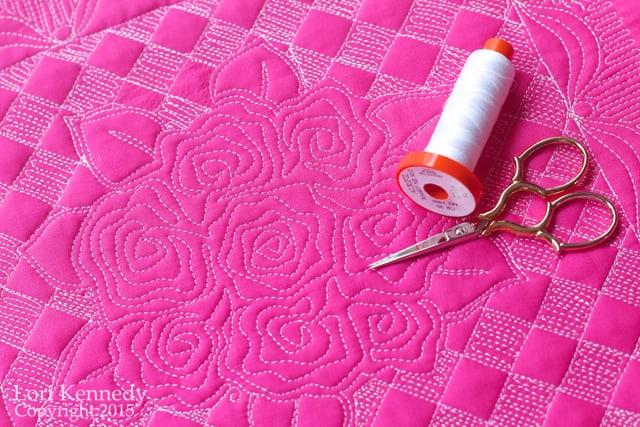 Nora's Rose Quilt, FMQ