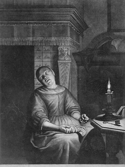 Gerar Valck, Sleeping Girl with Needlework