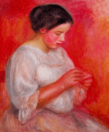 Renoir, Girl Sewing 1910