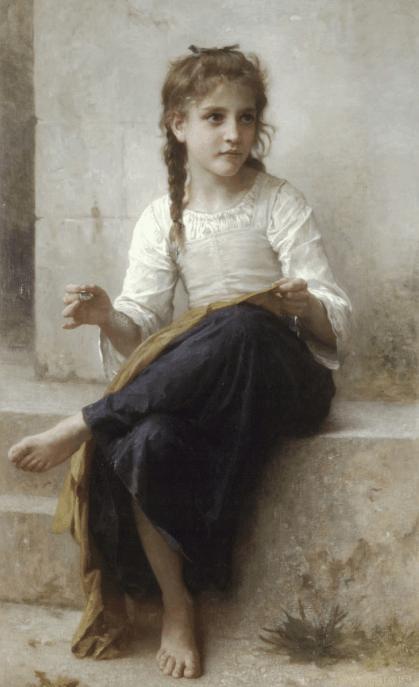 Young Girl Sewing, Bouguereau