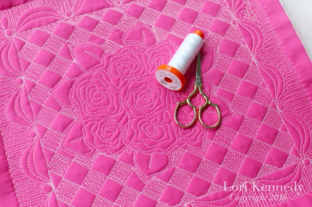 Rose quilt, Aurifil thread