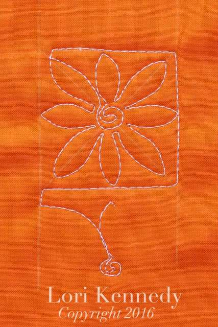 Square Daisy, Machine Quilting, Lori Kennedy