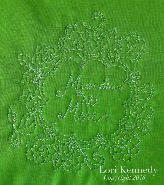 Meander No More, FMQ, Lori Kennedy
