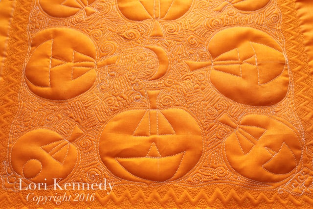 Jack-o-Lantern Quilt, Whole cloth Quilt, Lori Kennedy