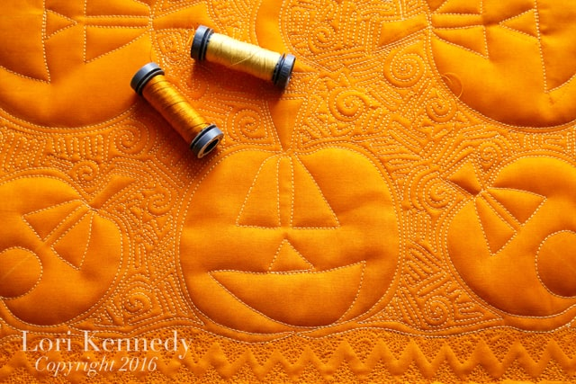 Jack-o-Lantern Quilt, Whole cloth Quilt, Lori Kennedy