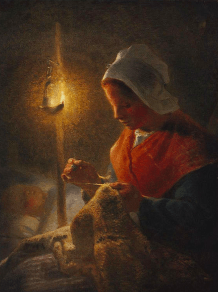 Jean-Francois Millet, Woman Sewing by Lamplight