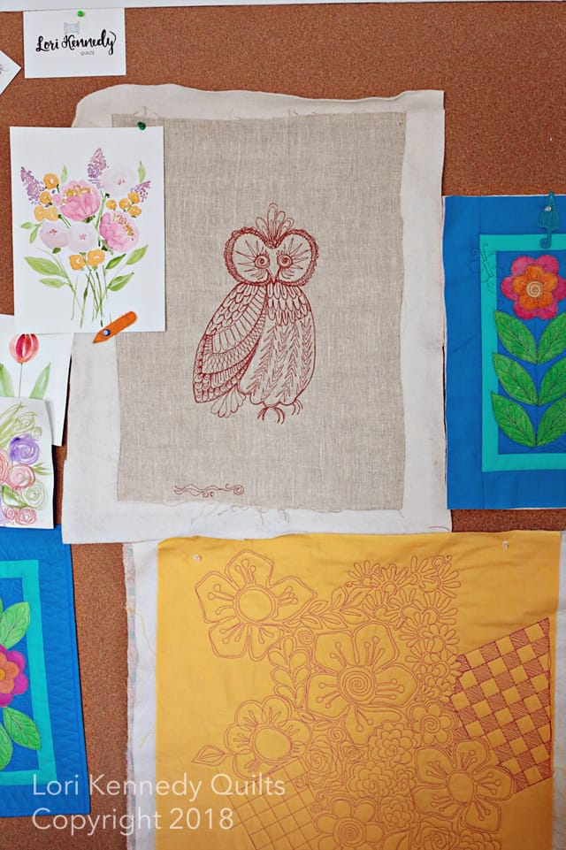 Owl, Machine Quilting, Lori Kennedy
