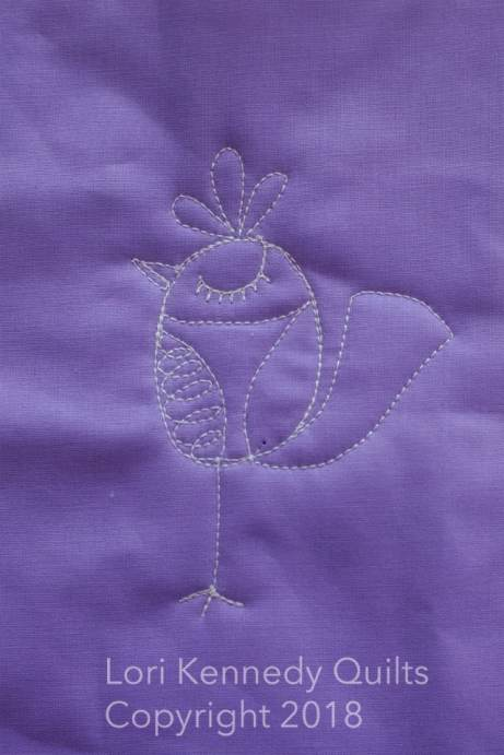 Silly Bird, Machine Quilting, Lori Kennedy