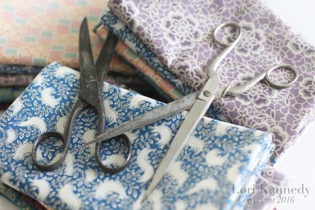 Downton Abbey Fabric, Vintage Scissors, Lori Kennedy