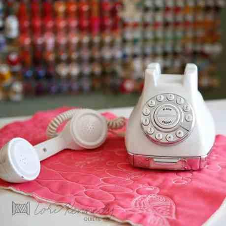 Machine Quilted Bird, Vintage Phone
