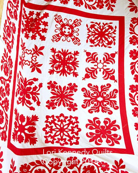 Wedding Quilt, Hawaiian Applique, Red and White Quilts