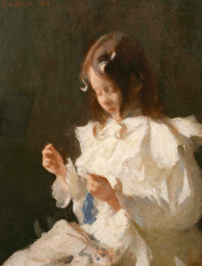 Frank Benson, Girl Sewing