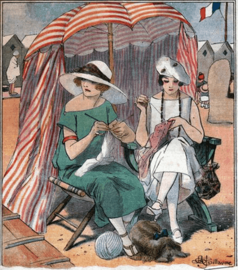 Fine Art Poster, Women Knitting on the Beach in Normandy
