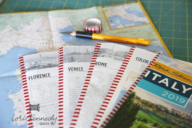 Rick Steves guide book cut up and ready for travel