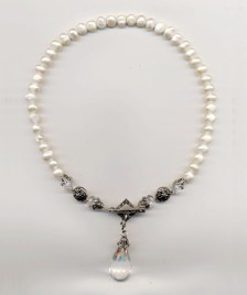 Annies Necklace - Fresh Water Pearls, Faceted Crystal and Marcasite - $325