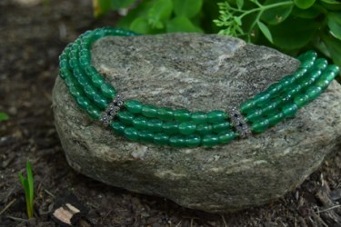 "3 Strand Green Agate with Marcasite and Swarovski Crystal. Adjustable from 15""-17"" - $350"