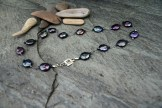 "Blue Coin Pearl, Swarovski Crystal on Silk, Sterling Clasp 16"" - $95"