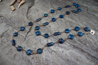 "Apatite, Swarovski Crystal on Silk with Sterling Silver Clasp 33"" - $185 Also available 16"" - $95"