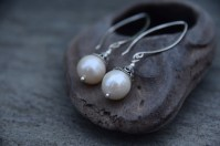 Fresh Water Pearl, Swarovski Crystal on Sterling Silver Long Wire - $49
