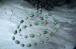 "Ruby Fuchsite, Swarovski Crystal, Sterling Clasp on Silk 33"" - $185 Earrings - $45"