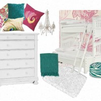 Girls' Room Makeover. our inspiration: DIY triple bunk, teal & pink, peacocks & pattern