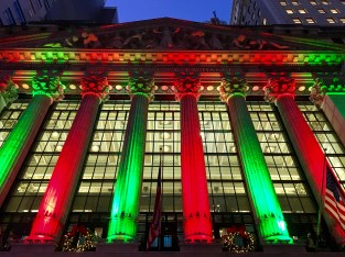The NYSE lit up for the holidays