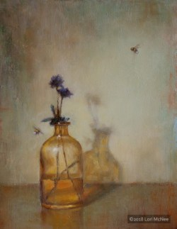 ©2015 Lori McNee Amber Bottle & Bees 16x12 Oil on linen