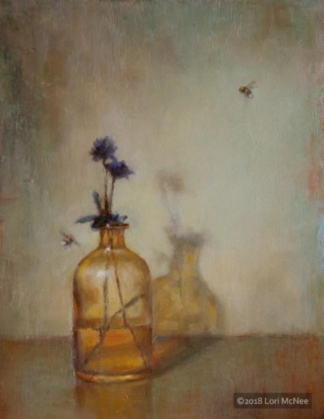 ©2015 Lori McNee Amber Bottle & Bees 16x12 Oil on linen
