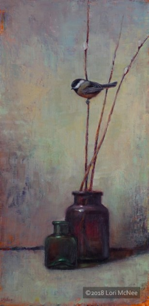 ©2015 Lori McNee Early Spring Chickadee 24x12 Oil on panel