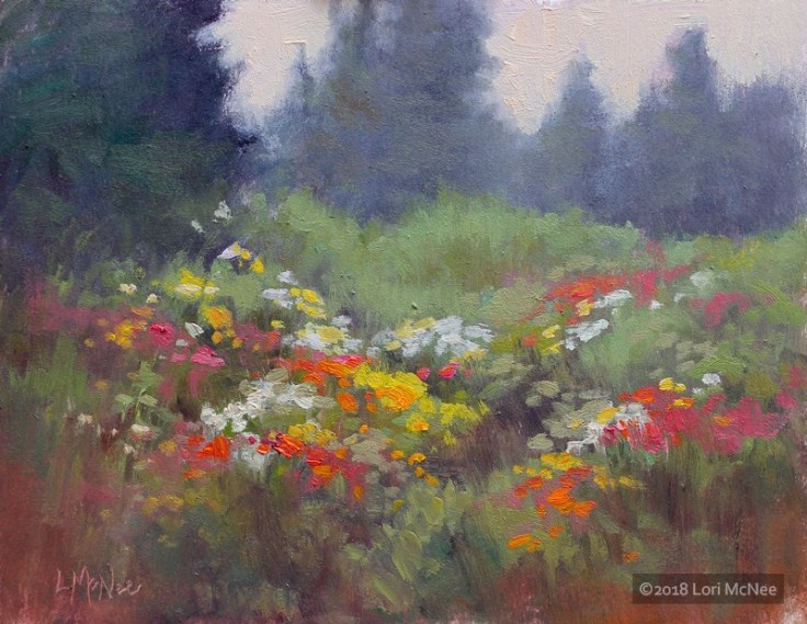 ©2014 Lori McNee Rain Flowers 9x12 Oil on linen