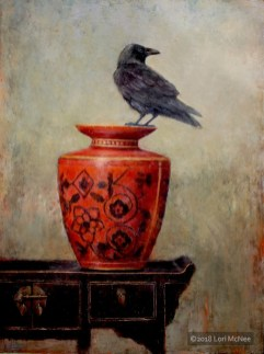 ©2015 Lori McNee Raven on Red 40x30 Oil on panel