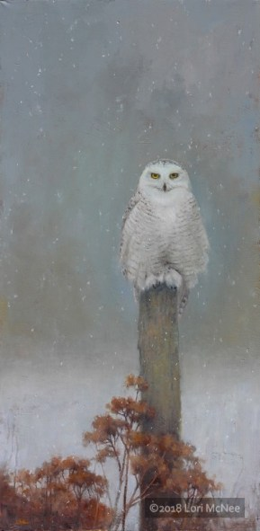 ©2018 Lori McNee Winter Watch 48x24 Oil on linen