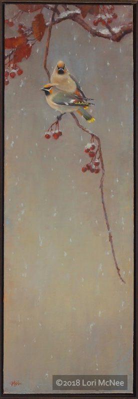 winter waxwings oil painting by Lori McNee