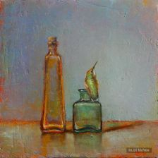 ©2012 Lori McNee Bottles & Hummingbird 12x12 Oil on panel