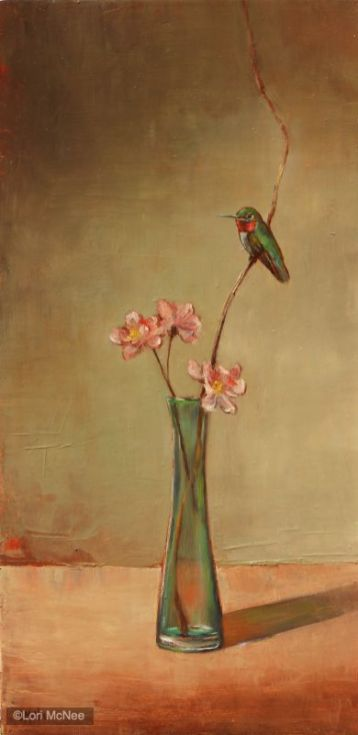 ©2011 Lori McNee Hummingbird and Peach Blossoms 24x12 Oil on panel