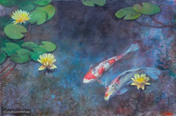 ©2016 Lori McNee Lotus Pool 24x36 Encaustic
